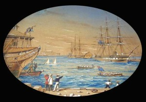 Edward James was Bermuda's finest artist during the period of the American Civil War. He recorded this scene at the Camber at Dockyard, with a gig with two sails in the centre.