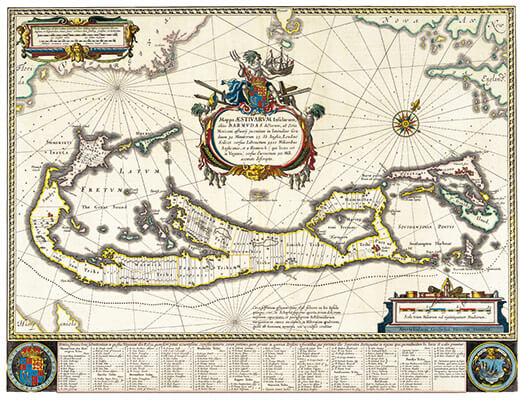Map of Bermuda by Guijelm Blaeuw